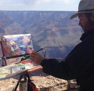 Leon Holmes painting in the Grand Canyon